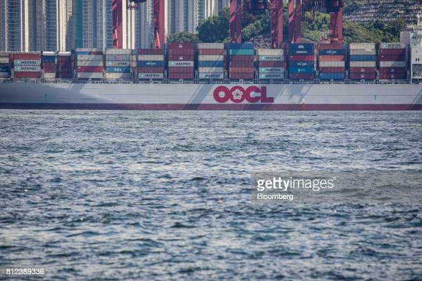A container ship operated by Orient Overseas Container Line a unit of Orient Overseas International Ltd sits berthed at the Kwai Tsing Container...