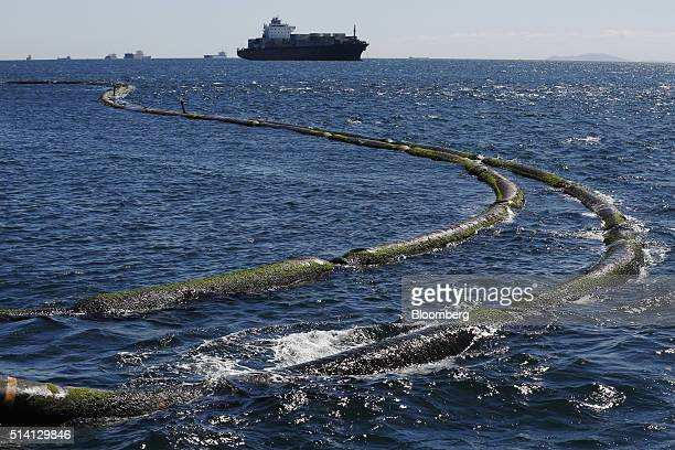 A container ship passes floating hoses stretching from the Monte Toledo oil tanker as it delivers a shipment of Iranian crude oil to an offshore...