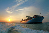 Sunlight on a container ship