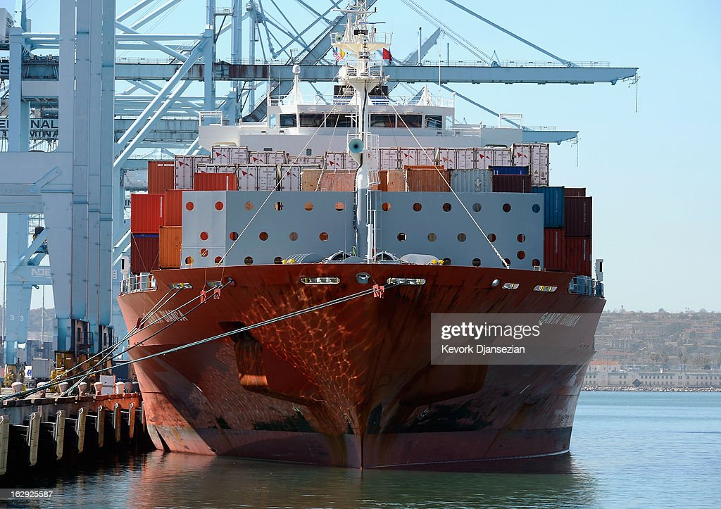 A container ship sits at a dock at the Port of Los Angeles on March 1, 2013 in Los Angeles, California. Reports say that teh across the board sequestration budget cuts could slow movement of goods through U.S. ports.