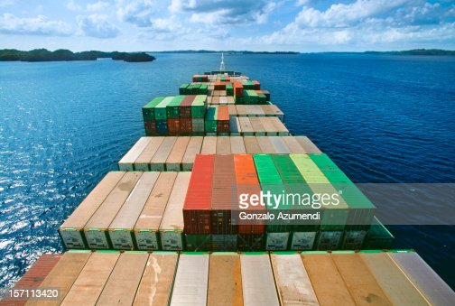 Container ship transporting goods. : Stock Photo