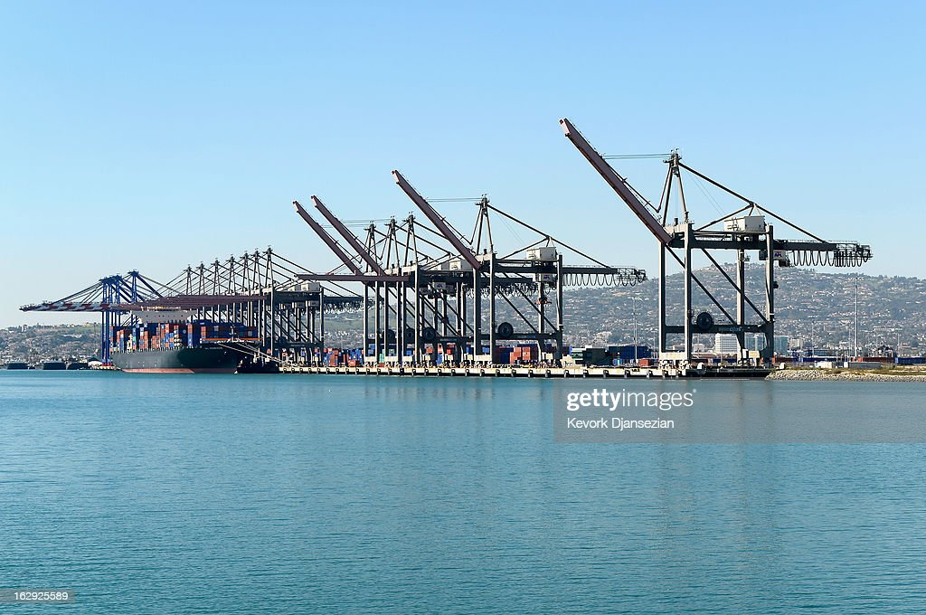 A container ship unloads container at the Port of Los Angeles on March 1, 2013 in Los Angeles, California. Reports say that teh across the board sequestration budget cuts could slow movement of goods through U.S. ports.