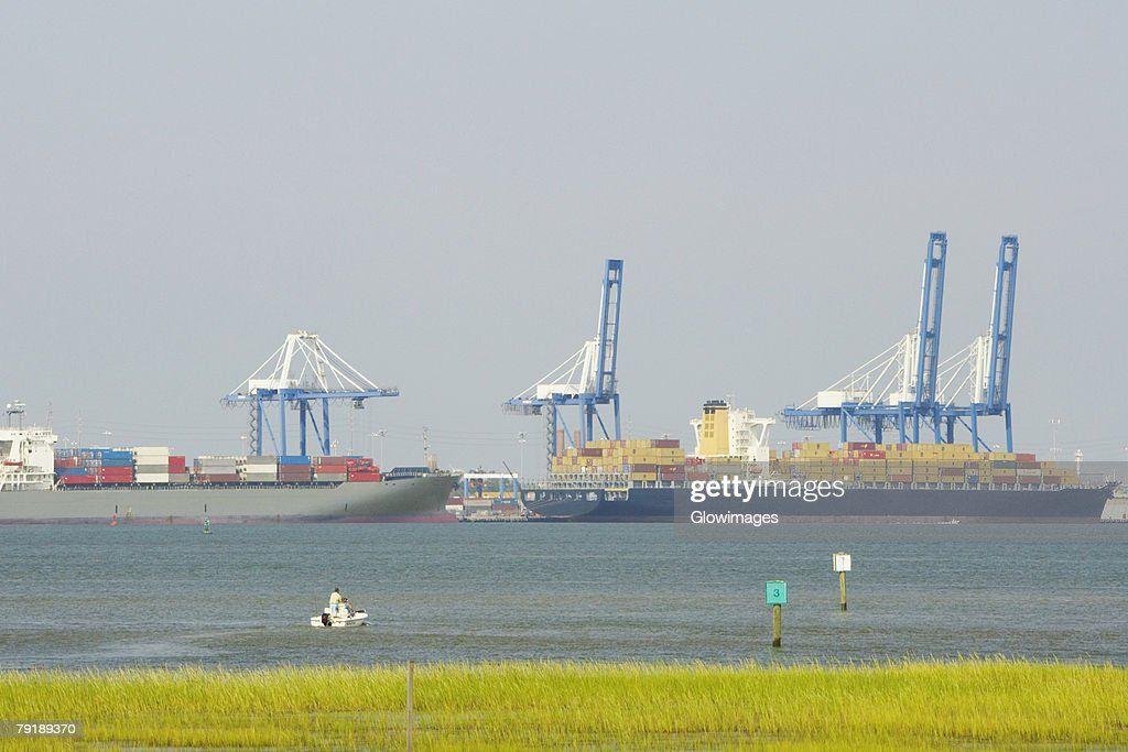 Container ships at a commercial dock, Charleston, South Carolina, USA : Stock Photo
