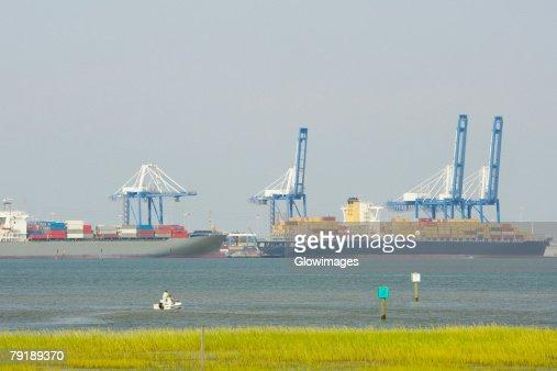 Container ships at a commercial dock, Charleston, South Carolina, USA : Stock Photo