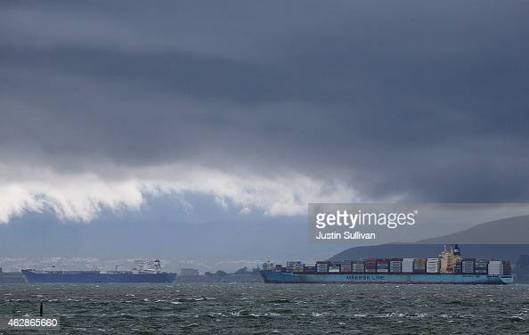 Container ships sit idle in the San Francisco Bay just outside of the Port of Oakland on February 6 2015 in Oakland California Pacific Maritime...