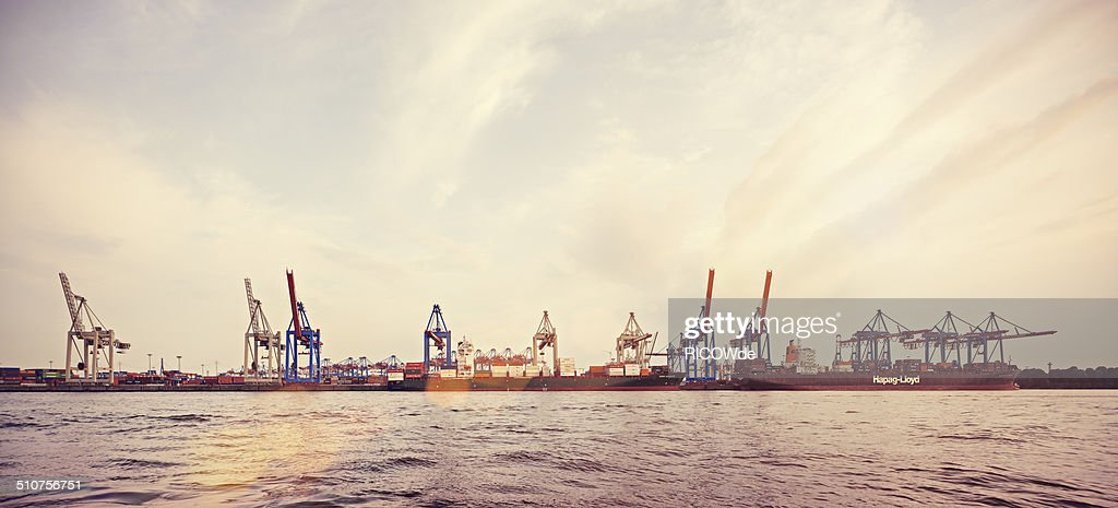 Container terminal at sunset