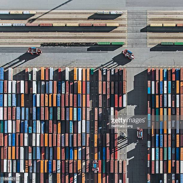 Container Terminal, railway tracks, aerial view