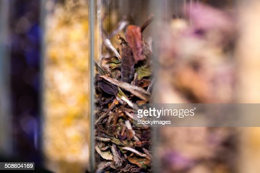 Container with mixed herbs : Stock Photo