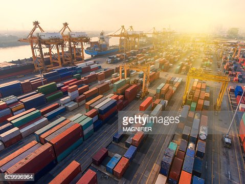 container,container ship in import export and business logistic. : Stock Photo