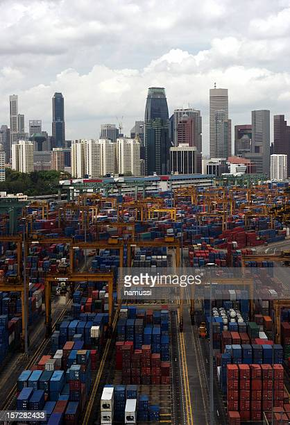 Containers and city skyline, Singapore