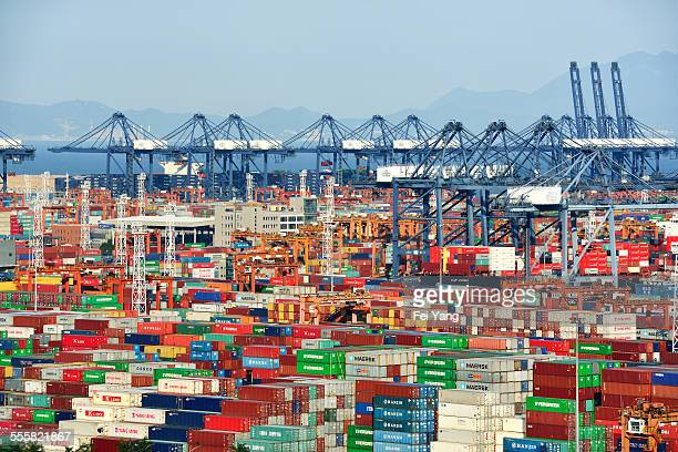 Containers and cranes in harbor