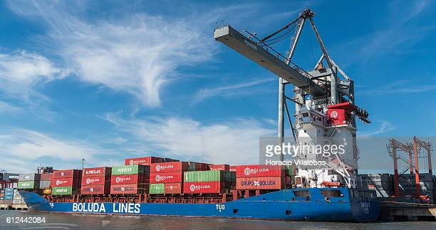 Containers are being loaded onto Boluda Lines container ship Daniela B registered in Limassol Cyprus at Alcantara containers terminal on October 3...
