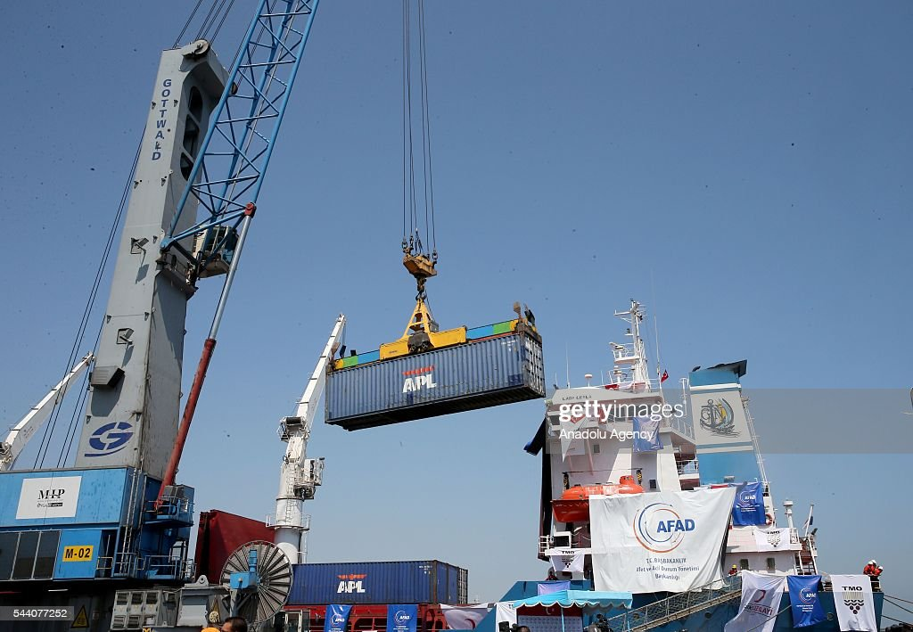 Containers are seen as Turkish government sends Humanitarian aid to Gaza after Turkish-Israeli reconciliation deal, in Mersin, Turkey on July 1, 2016.