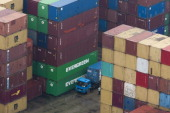 Containers are stacked at the Dayaowan Bonded Port Area in Dalian Liaoning Province China on Thursday Sept 15 2011 China's imports climbed to a...