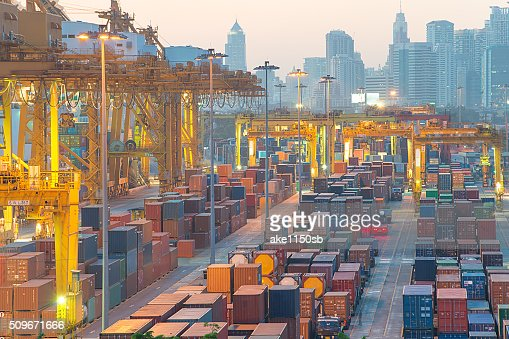 Containers at Bangkok commercial port : Stock Photo