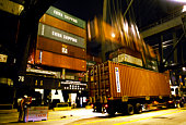 Containers being unloaded from ship, Hong Kong, China