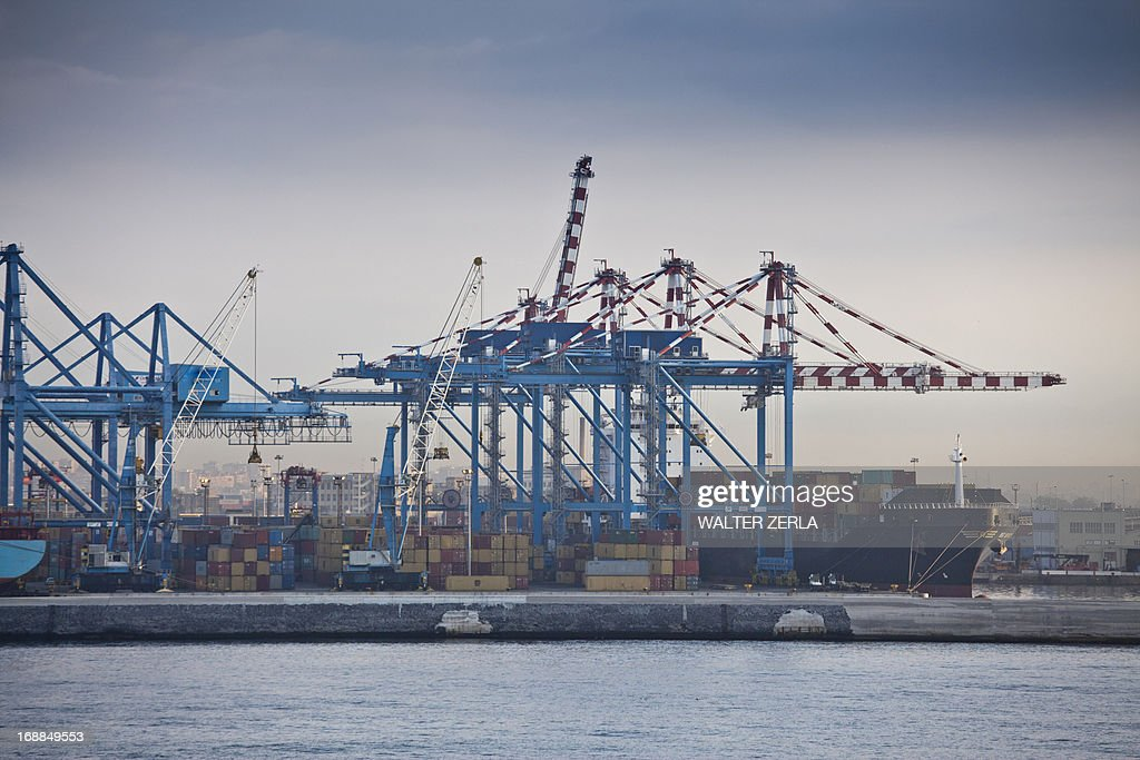 Containers in shipyard in harbor : Stock Photo