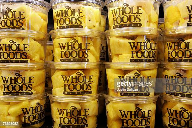 Containers of fresh pineapple sit on display at a Whole Foods Market February 22 2007 in San Francisco California Whole Foods Market Inc announced...