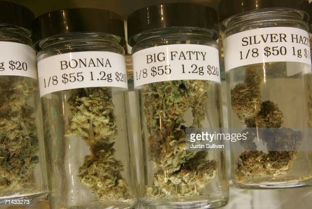 Containers of medicinal marijuana are seen on display at the Alternative Herbal Health Services cannabis dispensary July 13 2006 in San Francisco San...