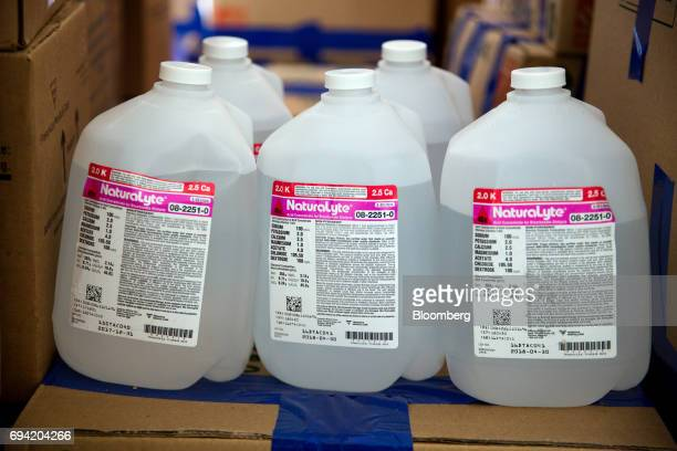 Containers of NaturaLyte sit on boxes of supplies to aid protesters collected by the Venezuelan exile group Politically Persecuted Venezuelans in...