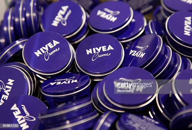Containers of Nivea skin creme are seen on display in a Beiersdorf AG