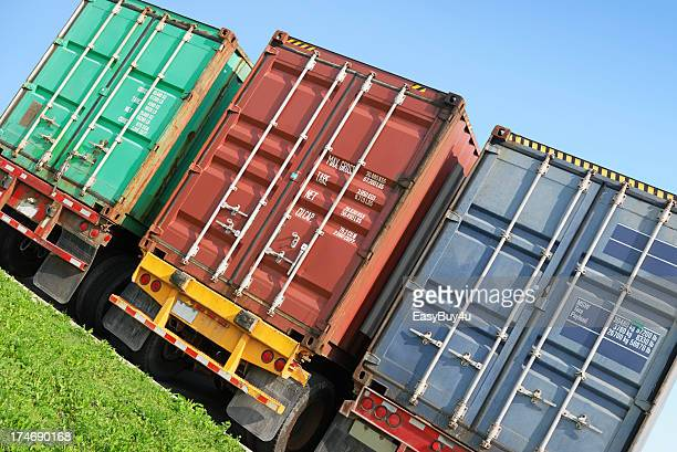 Containers on truck trailers