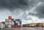 Containers lot in a rainy day in Miami.