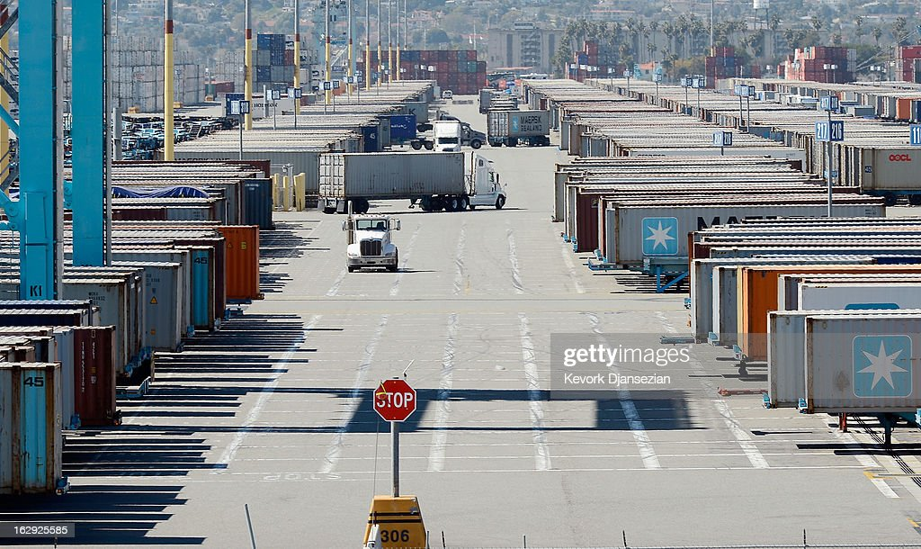 Containers sit at the Port of Los Angeles on March 1, 2013 in Los Angeles, California. Reports say that teh across the board sequestration budget cuts could slow movement of goods through U.S. ports.