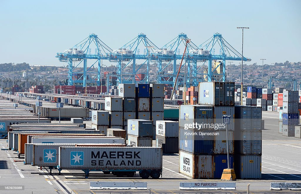 Containers sit stacked at the Port of Los Angeles on March 1, 2013 in Los Angeles, California. Reports say that teh across the board sequestration budget cuts could slow movement of goods through U.S. ports.