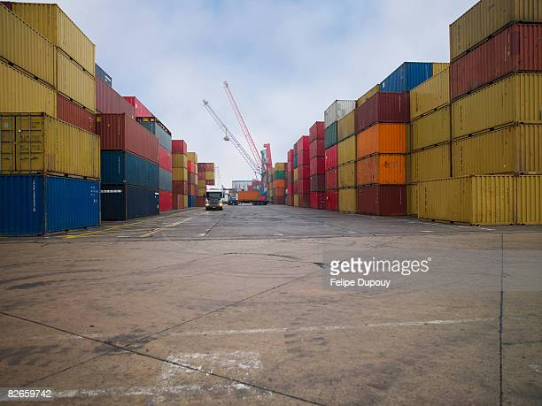 Containers stacked in a shipping yard