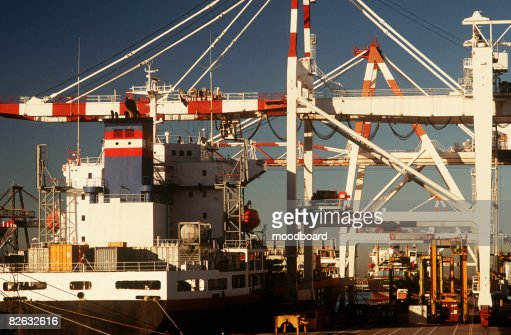 Containership in dock : Stock Photo