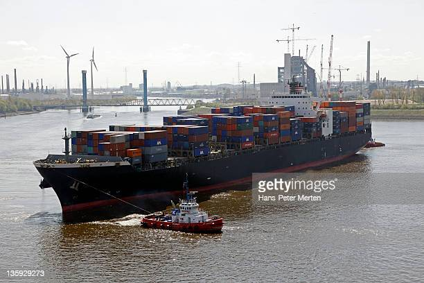 containership in the Port of Hamburg
