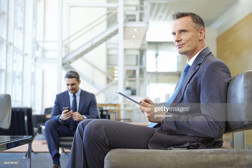 Contemplating his next corporate move : Stock Photo