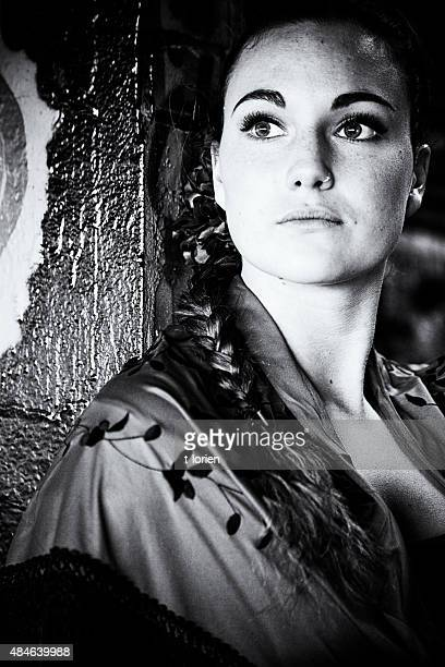Contemplating Spanish Donna in BW