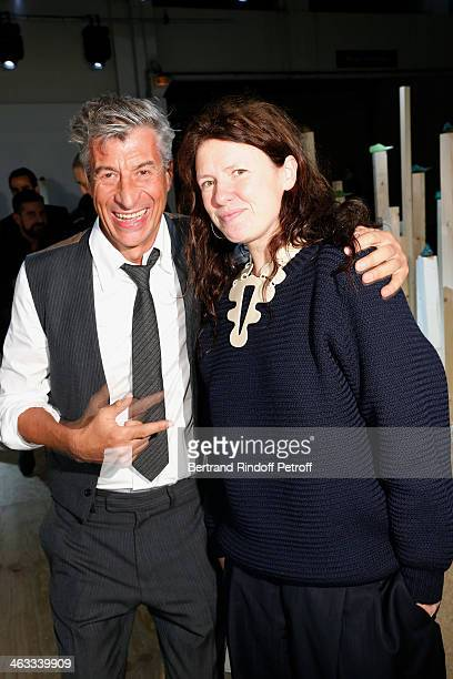 Contemporari Artist Maurizio Cattelan and guest attend the Berluti Menswear Fall/Winter 20142015 Show as part of Paris Fashion Week on January 17...