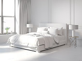 Rendering of a Contemporary all white bedroom