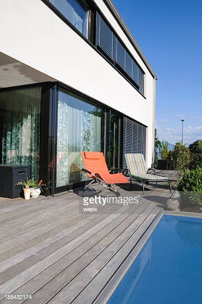 Contemporary architecture modern home pool deck outdoors