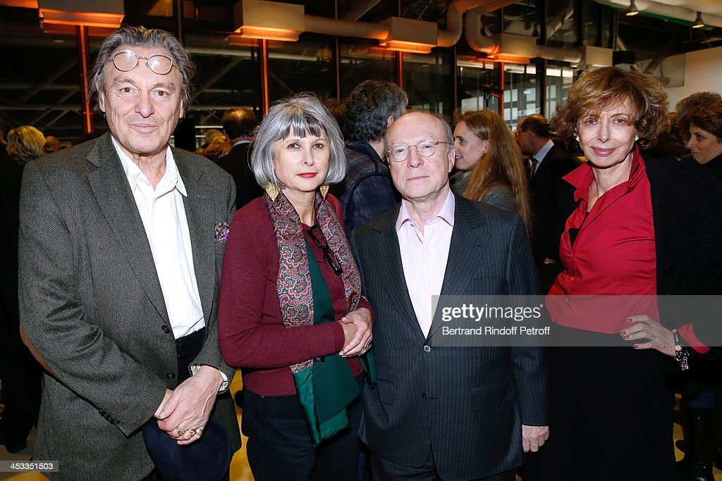 Contemporary Artist Gerard Garouste, his wife Elisabeth Garouste, galerist Daniel Templon and Journalist Annie Cohen-Solal attend the Tribute to Alfred Pacquement, Director of the Centre Pompidou Museum of Modern Art, at Centre Pompidou on December 3, 2013 in Paris, France.