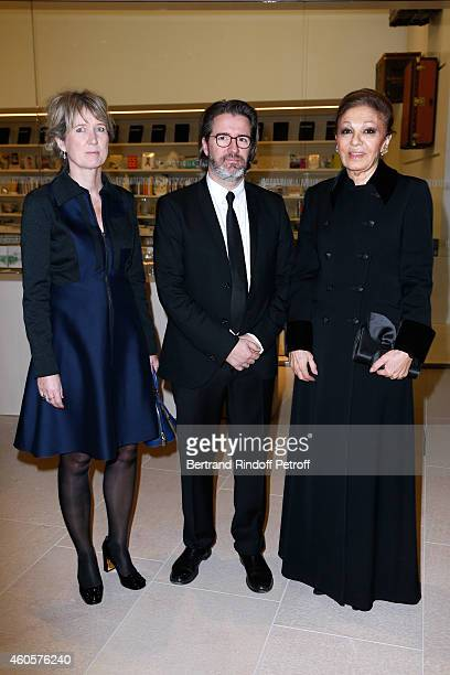 Contemporary Artist Olafur Eliasson who was the first exhibition of the 'Louis Vuitton Foundation' standing between his wife Marianne Krogh Jensen...