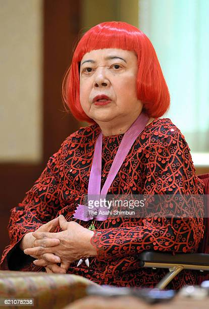 Contemporary artist Yayoi Kusama speaks during the press conference after the Order of Culture award ceremony at the Imperial Household Agency on...