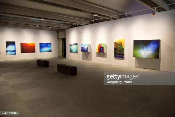 Contemporary artwork inside Kode 2 art gallery Bergen Norway electronic painting images by Rolf Aamot copyright status of artworks not known by...