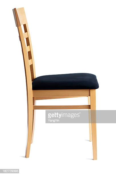 Contemporary Beech Cushioned Chair Side View Isolated on White Background