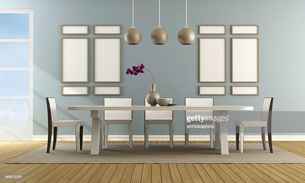 Sala Da Pranzo Contemporanea : Sala da pranzo contemporanei blu foto stock thinkstock