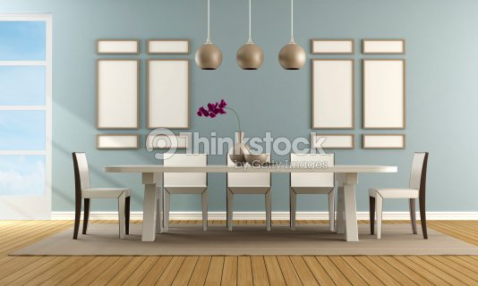 Sala Da Pranzo Contemporanei Blu Foto stock | Thinkstock