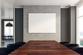 Contemporary boarding room interior with copy space on wall. 3D Rendering