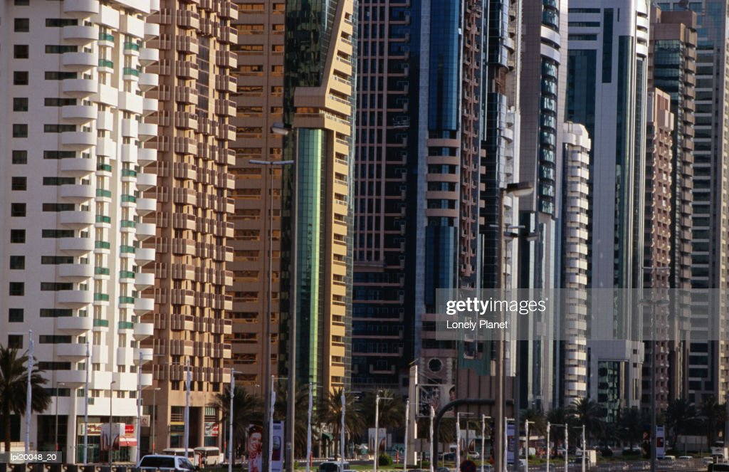 Contemporary buildings, Sheik Zayed Rd. : Stock Photo