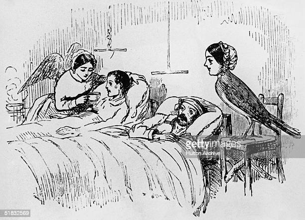 A contemporary cartoonist's view of nurses tending wounded soldiers during the Crimean war circa 1855 The nurses are referred to as 'Nightingale'...