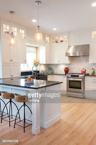 Contemporary Classic Open Concept Kitchen Design With Dinning Area Stock Photo Getty Images