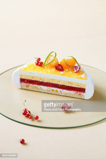 Contemporary Coconut, Raspberry and Tangerine Mousse Cake
