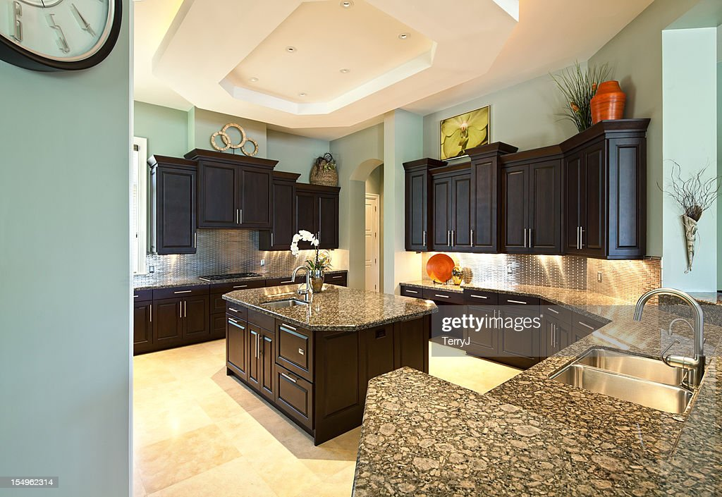Contemporary Dream Kitchens contemporary dream kitchen in estate home stock photo | getty images